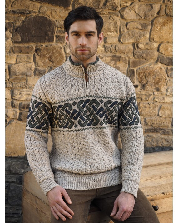 Celtic Jacquard Half Zip Sweater