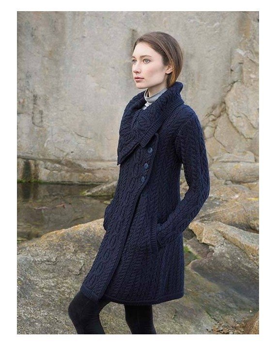 Chunky Collar Coat with Buttons
