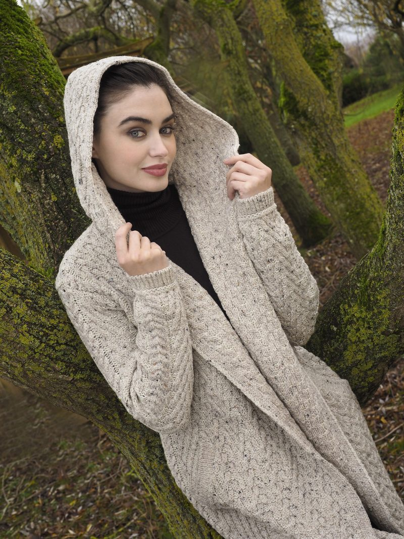 Mayo Herringbone Shawl with Hood