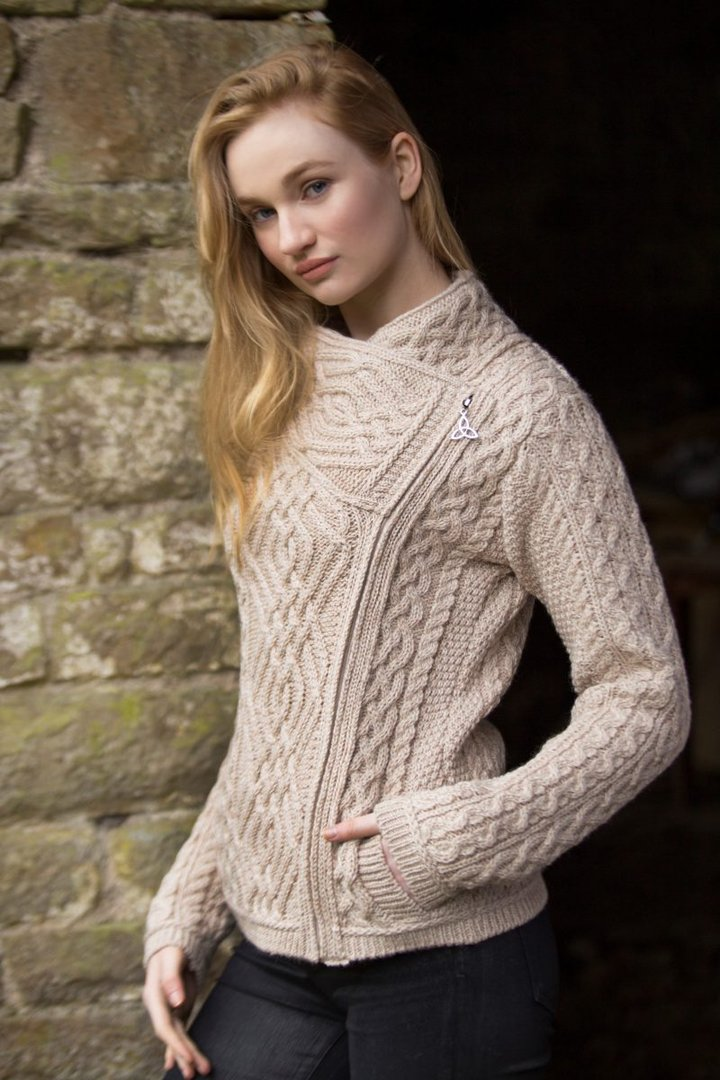 Ladies Cable Knit Side Zip Jacket