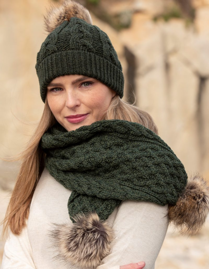Pom Pom Scarf and Hat Set