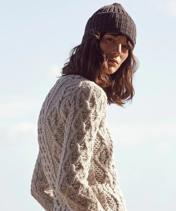 Ladies Lambay Lattice Cable Aran Sweater